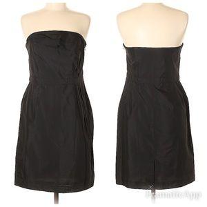 NWT LOFT Asymmetrical Ruffle Black Strapless Dress